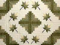 Green Gold and Yellow Cabin Splendor  Quilt