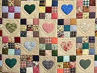 Plum Navy and Multicolor Hearts and Nine Patch Quilt