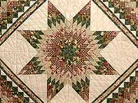 King Green Rose and Tan Lone Star Trip Quilt