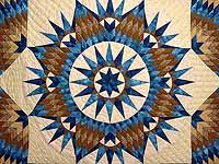 King Blue and Golden Tan Mariner's Star Quilt