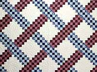 Blue and Burgundy Triple Irish Chain Quilt