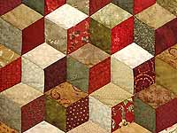 Red Gold and Multicolor Tumbling Blocks Quilt