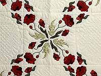 Dark Green and Crimson Poppy Fields Quilt