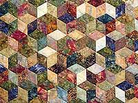 King Marble Tones Hand Painted Tumbling Blocks Quilt