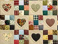 King  Multicolor Hearts and Nine Patch Quilt