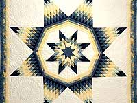 King Navy Blue and Yellow Royal Star of Maryland Quilt