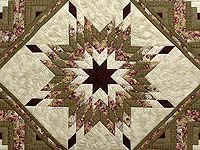 Moss and Purple Lone Star Log Cabin Quilt