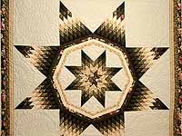 King Dark Green Peach  and Tan Royal Star of Maryland Quilt