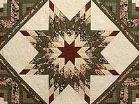 King Green Cream and Burgundy Lone Star Log Cabin Quilt