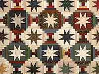 Blue Gold Burgundy and Multi Court Step Stars Quilt