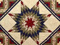 King Navy Burgundy and Multi Lone Star Log Cabin Quilt