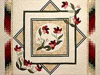 Tan Moss Mint and Burgundy Rainbow Reflections Quilt