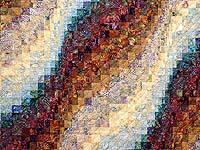 Plum Aqua and Gold Bargello Wave Quilt