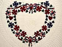 Navy and Burgundy Hearts Bouquet Quilt