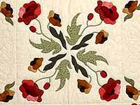 Green Red and Gold Poppy Fields Quilt