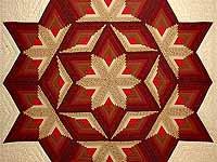 Red and Gold Diamond Star Log Cabin Quilt