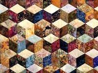 Navy Plum and Gold Hand Painted Tumbling Blocks Quilt