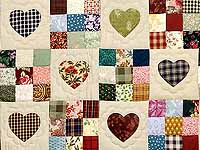 King Navy Green and Multi Hearts and Nine Patch Quilt