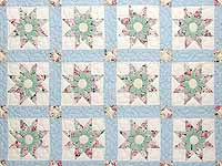 Pastel Blue Rose and Green Dahlia Star Quilt