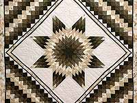 Moss Green and Beige Lone Star Trip Quilt