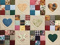 Burgundy and Multicolor Hearts and Nine Patch Quilt