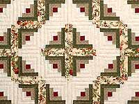 Twin Size Burgundy Moss and Gold Log Cabin Quilt