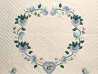Blue Mint and Ivory Heart of Roses Quilt