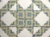 Pansy Blue and Yellow Log Cabin Star Quilt