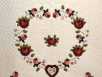 Dusty Rose and Moss Heart of Roses Quilt