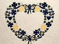 Navy and Yellow Heart Bouquet Quilt