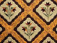 King Green Brown and Ocher Roxanne Quilt