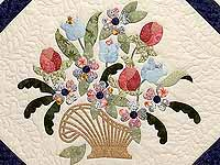Navy Blue and Rose Spring Basket Quilt