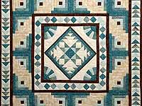 Teal and Brown Flying Geese Log Cabin Medallion Quilt