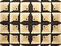 King Black and Gold Off Center Log Cabin Quilt