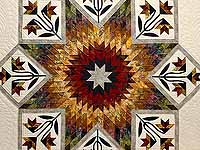 Tan Moss Gold and Multi  Flowering Star Quilt