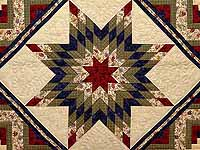 King Tan Navy Green and Burgundy Lone Star Log Cabin Quilt