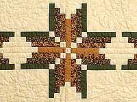 Green Brown and Tan Nordic Star Quilt