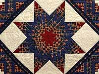 King Navy Burgundy and Tan Lone Star Log Cabin Quilt