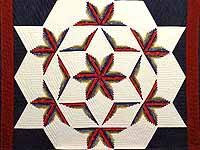King Navy Burgundy and Multicolor  Diamond Star Log Cabin Quilt