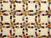 King Hand Painted Double Wedding Ring Quilt