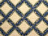 Blue Green and Tan Triple Irish Chain Quilt
