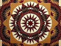 King Burgundy Moss and Gold Mariner's Star Quilt