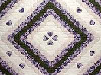 Lavender Green and Cream Ocean Wave with Hearts Quilt