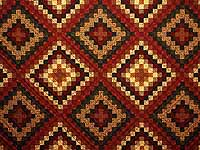 King Burgundy Gold and Green Mosaic Quilt
