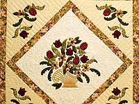 Gold Rose and Burgundy Spring Basket Quilt