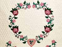 Rose and Green Heart of Roses Quilt