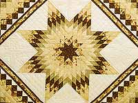 King Gold Brown and Sage Lone Star Trip Quilt