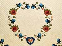 King Blue Coral and Green Heart of Roses Quilt