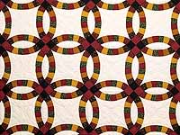 Extra Fine Earth Tones Double Wedding Ring Quilt