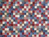 Twin-size Blue and Multi Postage Stamp Quilt